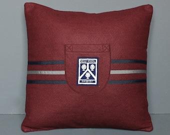 Vintage School Badge Pillow - Hand-made Felt Pillow using an Original 1950's English School Badge