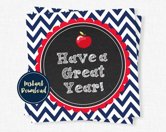 Teacher Tag, Back to School Teacher Tag, Have a Great Year Tag, Apple Tag, Red and Navy Teacher Printable INSTANT DOWNLOAD