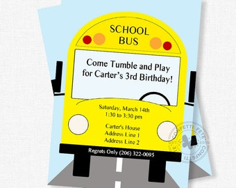 School Bus Invitation, Bus Birthday Invitation, Wheels on the Bus Party Invitation