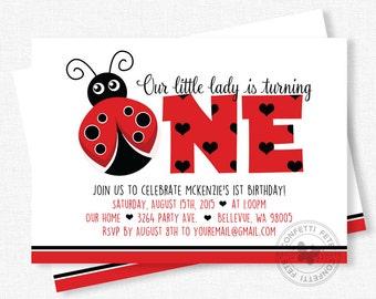 Ladybug Birthday Invitation, First Birthday Invitation, Girls Birthday Invitation, Little Lady Party, Red and Black Invitation