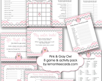 Pink Owl Baby Shower Game Package, instant download, printable girl baby shower games, pink gray chevron baby shower