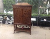 PAGODA RATTAN CABINET /Faux Bamboo 2 Piece Cabinet / Chippendale Style Fretwork Cabinet / Faux Bamboo Armoire tv Cabinet at Retro Daisy Girl