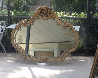 SHABBY CHIC GOLD Large Mirror / Almost 5 Feet Long and Over 4 Feet Tall / Rococo Mirror Cottage Paris Apt Style On SALe at Retro Daisy Girl