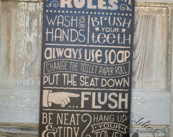 Bathroom Rules 3, handmade wall sign