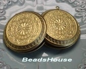 2pcs - (45mm) Big Round Vintage Raw Brass Photo Locket Pendant - Nickel Free