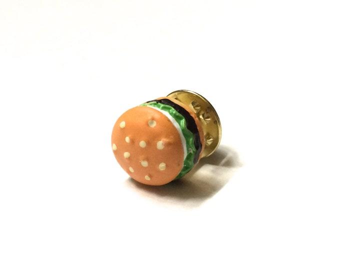 Hamburger Lapel Pin, Tie Tack, Miniature Fast Food, geekery, funny, snarky, humorous brass brooch