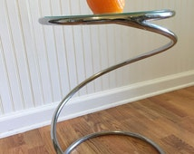 PACE COLLECTION ATTRIBUTED Chrome Spiral Accent Table Swirl Tubular with Glass Top Occasional Table Accent Table Mid Century at Modern Logic