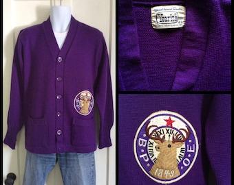 Vintage 1960's Elks Lodge Cardigan Sweater size 42 Purple Wool