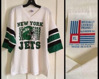 Deadstock Vintage 1980's New York Jets NFL football team Jersey t-shirt size XL nos Mint