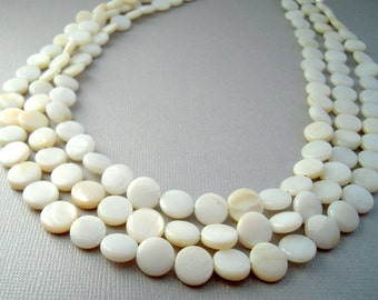 White Shell Necklace, Three Strand Necklace, Mother of Pearl, Wedding Necklace
