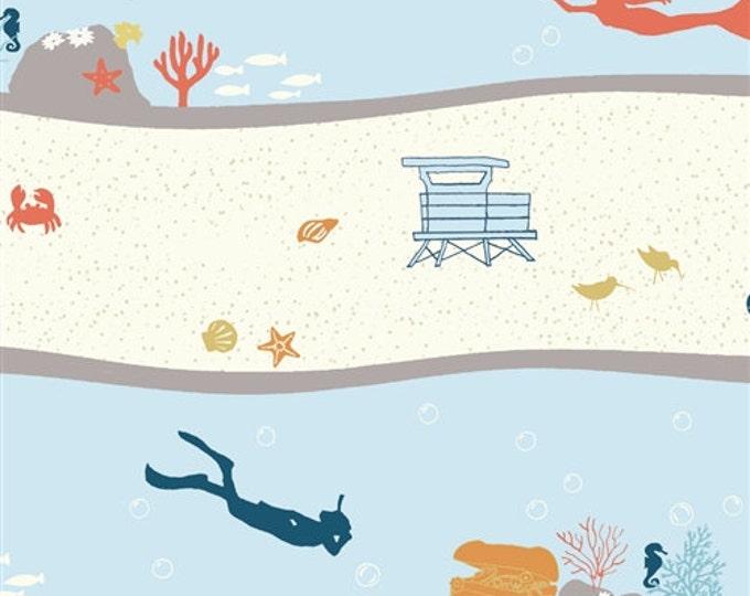 Organic KNIT Fabric - Birch Beyond the Sea - Dive Stripe