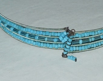 Vintage Blue beaded Choker necklace