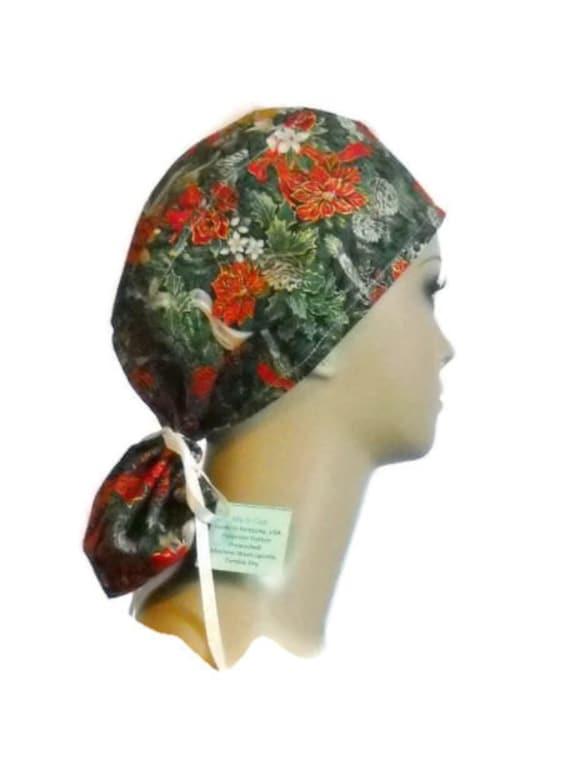 Christmas Ponytail Scrub Caps Chemo Headwear Great By