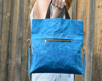 Waxed Canvas Tote - Shoulder Bag - Waxed Canvas - Foldover Tote