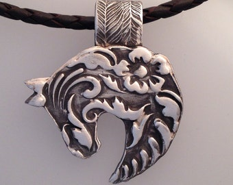 Horse Pendant in Fine Silver with braided leather necklace