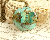Butterfly Necklace,Butterfly Collage Pendant,Turquoise Flower,Filigree Butterfly Collage Necklace
