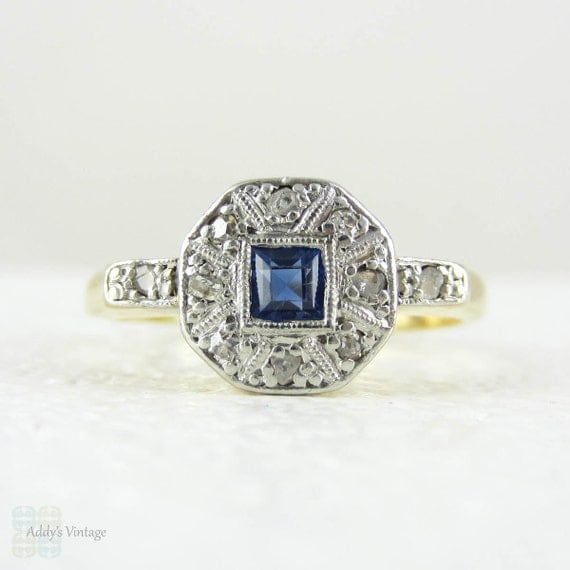 Art Deco Sapphire & Diamond Engagement Ring Square Shape