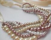 Ribbon rhinestone blush mauve braided twisted chunky statement pearl necklace bridesmaid bridal