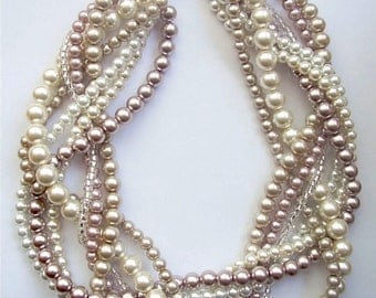braided pearl necklace blush statement pearl necklace twisted pearl necklace custom order necklaces bridesmaid bridal