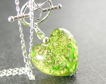 Peridot Green Heart Necklace August Birthsone Sterling Silver Necklace 24k Gold Foil Venetian Murano Glass Heart Pendant Necklace