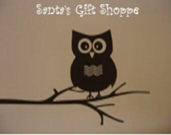 Owl Sitting on Branch - Vinyl Wall Decal - Nursery - Bedroom - Children- Home Decor