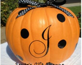 Halloween Pumpkin Vinyl Decals - Dots - Monogrammed initial - Family initial -Home Decor - Halloween