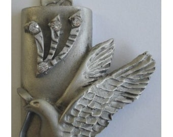 Pewter Mezuzah Peace Dove Highlighted With Swarovski Crystals