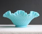 Turquoise Blue Milk Glass Bowl by Fenton with Hobnail Pattern, 1950s Pastel Aqua
