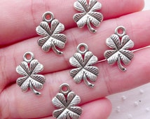 Silver 4 Leaf Clover Charms (6pcs / 11mm x 17mm / Tibetan Silver) Good Luck Jewellery Keychain Bracelet Earrings Necklace Making CHM2231