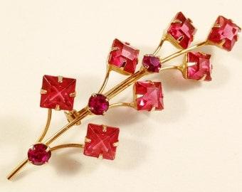 Art Deco Brooch, Art Deco Jewelry, Vintage Jewelry, Rhinestone Jewelry, Floral Brooch, Pink Brooch, Prong Set, Vintage Brooch, Floral Pin
