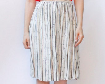 Vintage 80's Skirt, stripe & crinkle / cracked pattern, white / navy blue / olive green, below the knee, lightweight, breezy - Small / XS