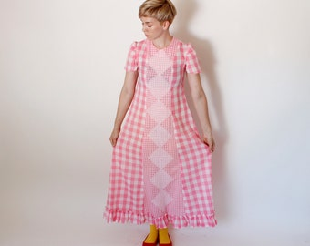 Vintage 70's pink gingham maxi dress, pink & white checkered plaid, white embroidery down center, lightweight, short sleeved, country dress