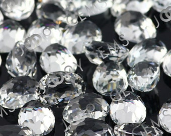 White Topaz Honeycomb Faceted Oval Cabochon 8x6mm - 1 cab, CTOP5HOV8