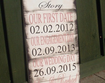 Shabby chic rustic our love story 16x8 personalized dates wedding date important dates sign
