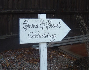 Shabby chic directional arrow plaque/sign with stake vintage wedding bride and groom