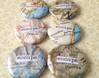 Escape - Map Collage - Pinback Button, Magnet, Mirror, or Bottle Opener