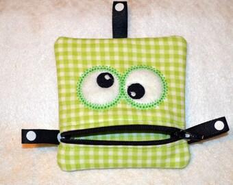 Handmade Green Zippered Monster Coin Purse -  gift card holder