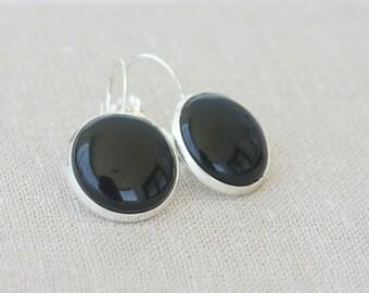 Black earrings for women black cabochon earrings minimalist jewelry lever back earrings fashion earrings dangle earrings christmas gift