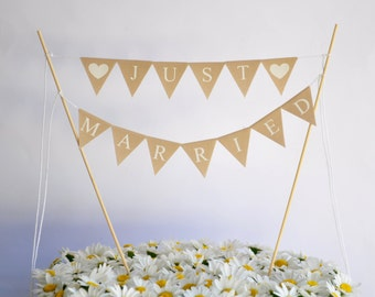 JUST MARRIED Cake Topper Traditional Bunting Banner wedding party garland neutral beige cotton Wedding Bridal Engagement Celebration Party