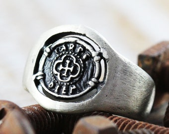 Silver Signet Ring Man Coin Rings Personalize Jewelry