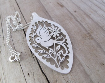 Bird of Hope scalloped Statement Pendant Necklace Hope Eco spoon pendant Hand Cut out Bird Floral silverware ooak Pendant HelenSilverSmit