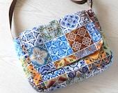 Ethnic design, Patchwork tiles, messenger bag,shoulder bag,cross body bag