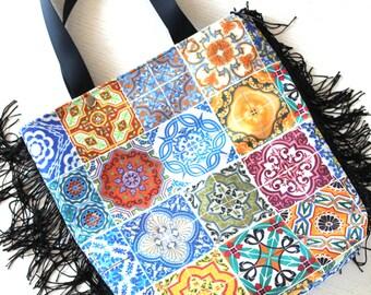 Colorful patchwork ethnic tiles,tassel shoulder bag,diaper bag,everyday bag,tote bag