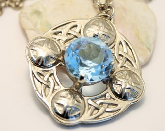 Vintage pendant. Celtic pendant. Blue glass stone pendant