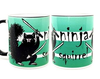 Ninja Squirrel Black Mug   Funny Mug   Quote Mug