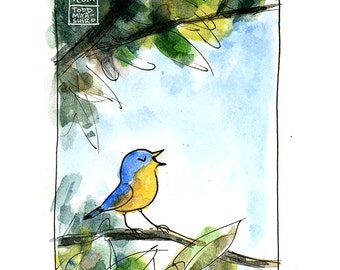 Day Song -- Bird in Tree -- Yellow Robin -- Digital Watercolor Print -- Cute Family Art
