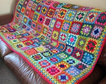 Vibrant BLANKET Granny Squares Crochet Sofa Throw