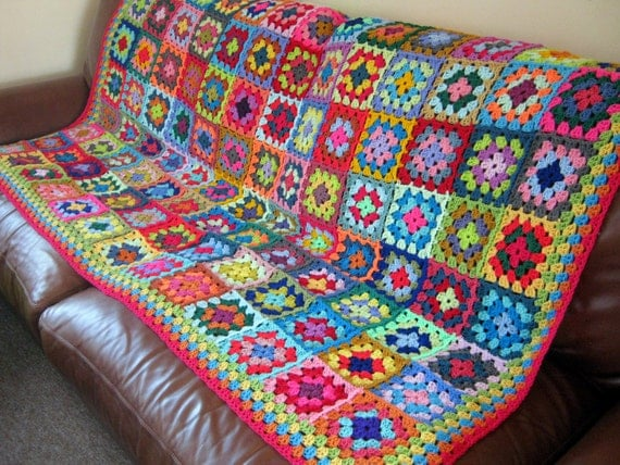 Vibrant BLANKET Granny Squares Crochet Sofa Throw
