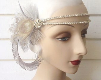1920's style flapper double banded vintage rhinestone headband roaring 20s headband with silver grey peacock and ostrich feathers