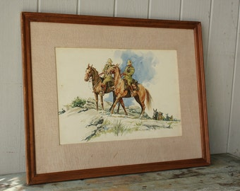 Original Watercolor Painting by Benjamin Moran Dale in Wood Frame